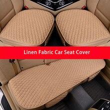 Tkanina lniana pokrycie siedzenia samochodu cztery pory roku przednia tylna poduszka lniana oddychający ochraniacz Mat Pad akcesoria samochodowe uniwersalny rozmiar