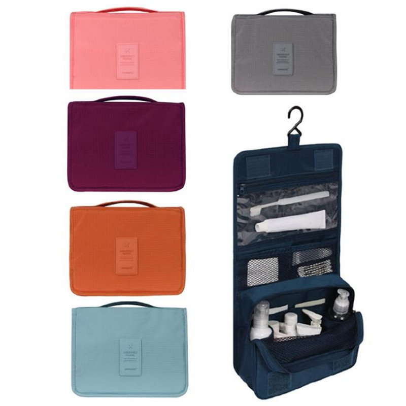 Korean Waterproof Cosmetic Bag Women's Travel Makeup Organizer Bag Bathroom Washing And Sorting Hanging Bags Cosmetic Storage
