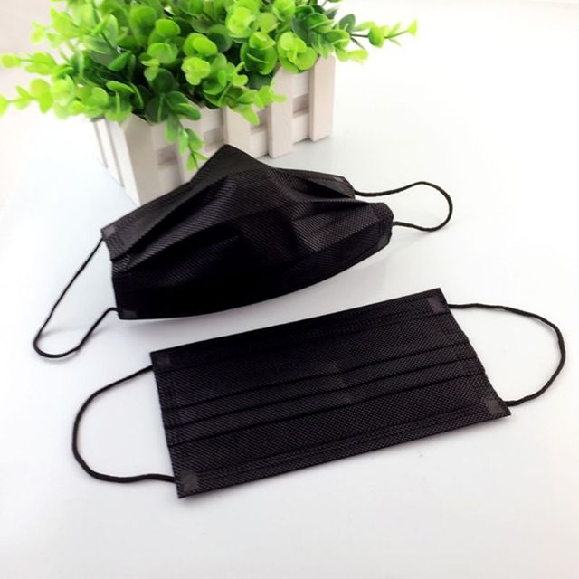 50PCS Mouth Mask Disposable Non-Woven Black Face Mouth Masks 3 Layer Anti-Dust Activated Anti Pollution Mouth-muffle 17.5x9.5cm 5
