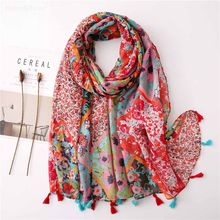 New ethnic wind red color matching flowers to prevent the shawl scarf scarf dual-use gauze scarf scarf beach towel femme foulard(China)