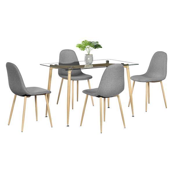 Simple Wood Grain Table Leg & Transparent Tempered Glass Dinner Table Minimalist Coffee Table Side Furniture Living Room Table 5