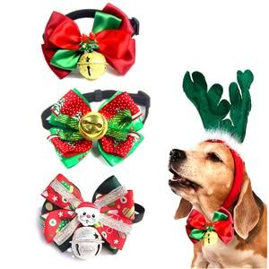 Dog collar pet Christmas bow t