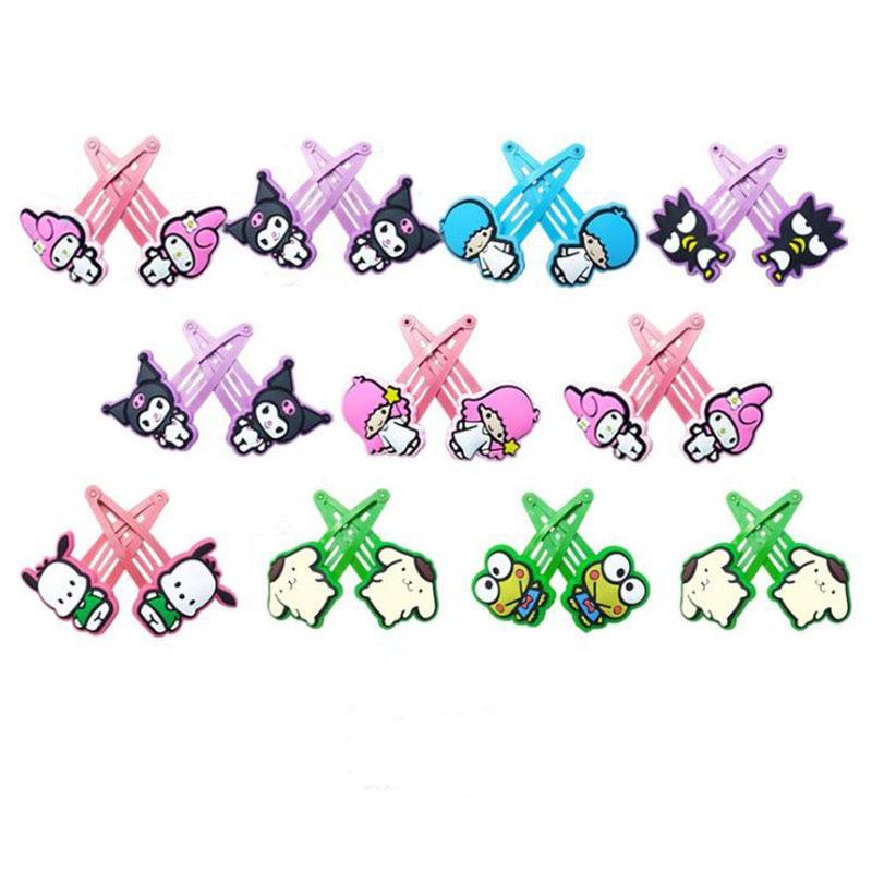 1 Pair Cartoon Sanrio My Melody Little Twin Stars Pudding Cinnamoroll Dog Comics Hair Pin Hair Clip For Girls Gift Toy Figure