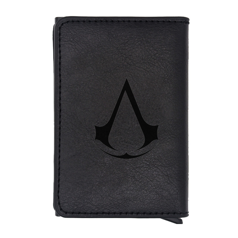 Classic Fashion Assassin Theme Design Rfid Wallet Classic Men Women Credit Card Black Leather Wallets Short Purse