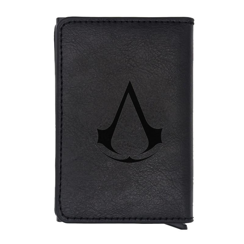 Classic Fashion Assassin Theme Design Rfid Wallet Classic Men Women Credit Card Black Leather Wallets Short Purse