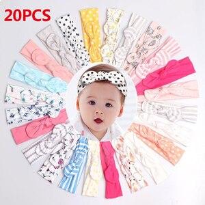 Image 1 - 20Pcs/Lot Baby Girl headband Hair Accessories Cotton Rabbit Ear Baby headwear Turban Bowknot Elastic Hairband Baby headband