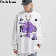 Dark Icon Printing Street T-shirt Men Long Sleeved Mens Tshirts Round Neck Loose Tee Shirts