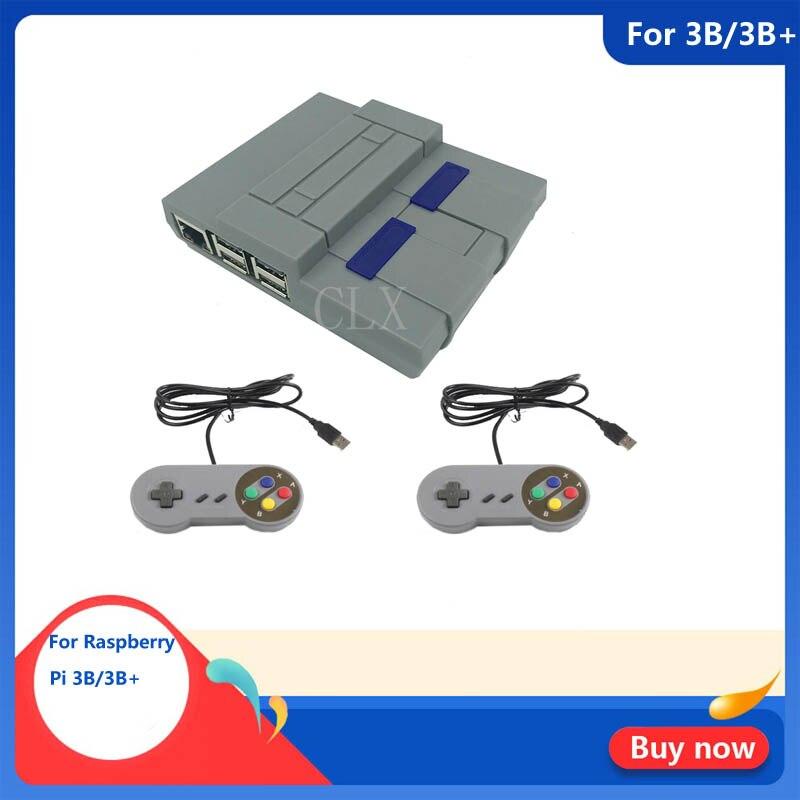 Raspberry Pi 3 B+ Mini NES Style Case +Cool Fan+2pcs Game Handle  For Raspberry Pi 3 Model B Plus, 3B, 2B And B+ / NESPi Case