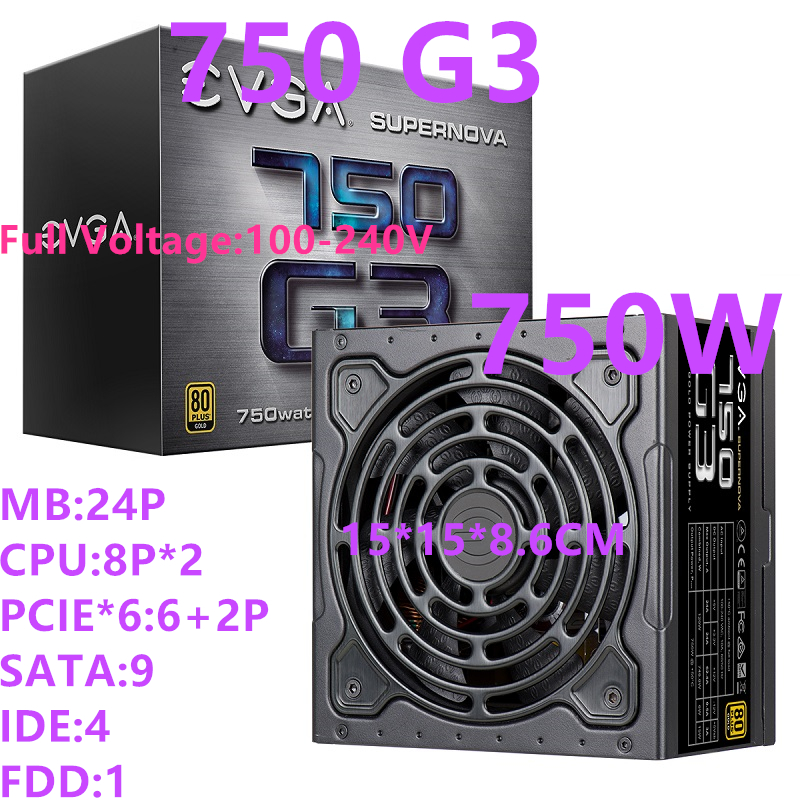 New PSU For EVGA Brand 80PLUS Gold Full Modular Silent Fan Power Supply Rated 750W Peak 850W Power Supply 750 G3