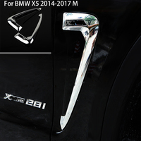 Car Exterior Accessorie Decals car Both Side Leaf Plate Fender Decoration Air Vent Cover Chrome For BMW X5 2014 2015 2016 2017