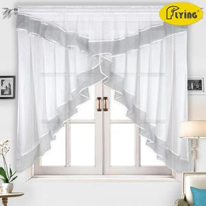 Flying Kitchen Curtains Tulle With Color Side For Window Balcony Rome Pleated Design Stitching Colors Voile Sheer Drape Short