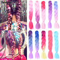 Тренд путь 24Inch100g Джамбо вязание крючком плетение волос Синтетический канекалон Омбре волос для женщин блонд золотой зеленый коричневый цв...