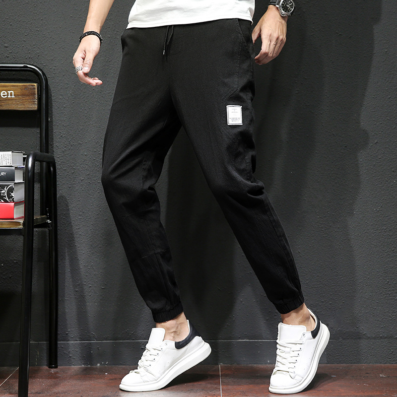 Youth Ankle Banded Pants Korean-style Trend Ha Nylon Versatile Loose-Fit Skinny Pants Long Sports Pants New Style MEN'S Casual P