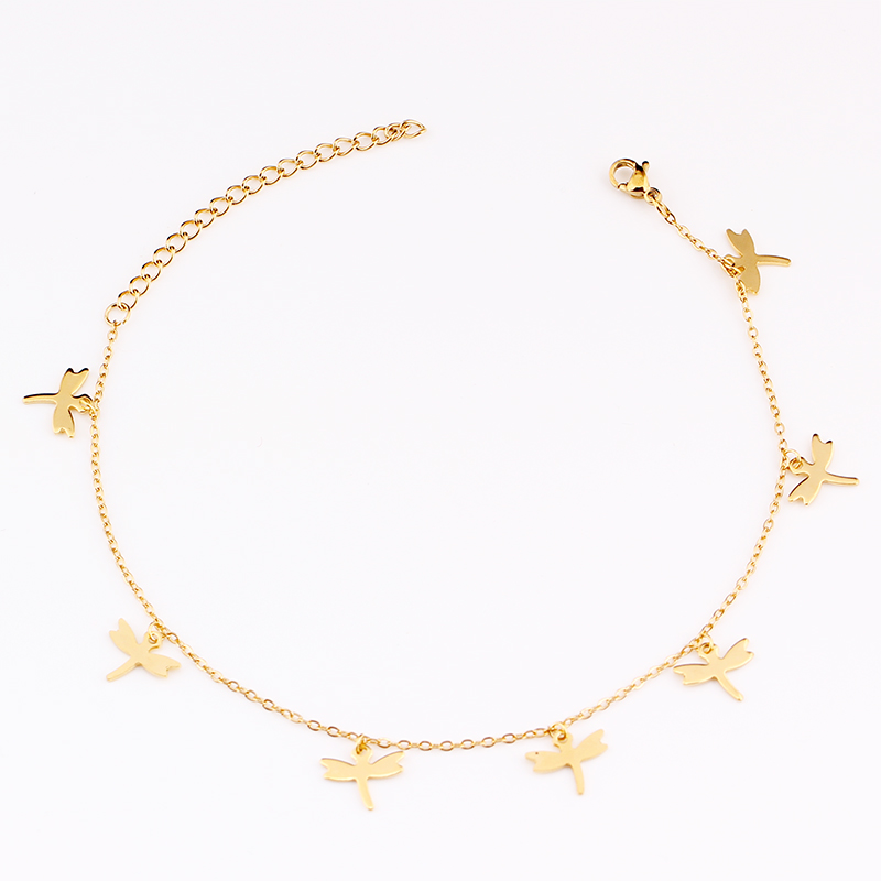 SUQI New Bohemian Woman Simple Golden Dragonfly Beach Foot Leg Chain Barefoot Anklets Sandal Female Bracelet Crochet Holiday