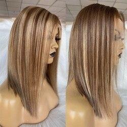 QueenKing haar 13*6 Spitze Vorne Perücke 150% 6/6/18 Farbe Bob Perücke Seidige Gerade Freies Teil Preplucked Brasilianische Menschlichen remy Haar