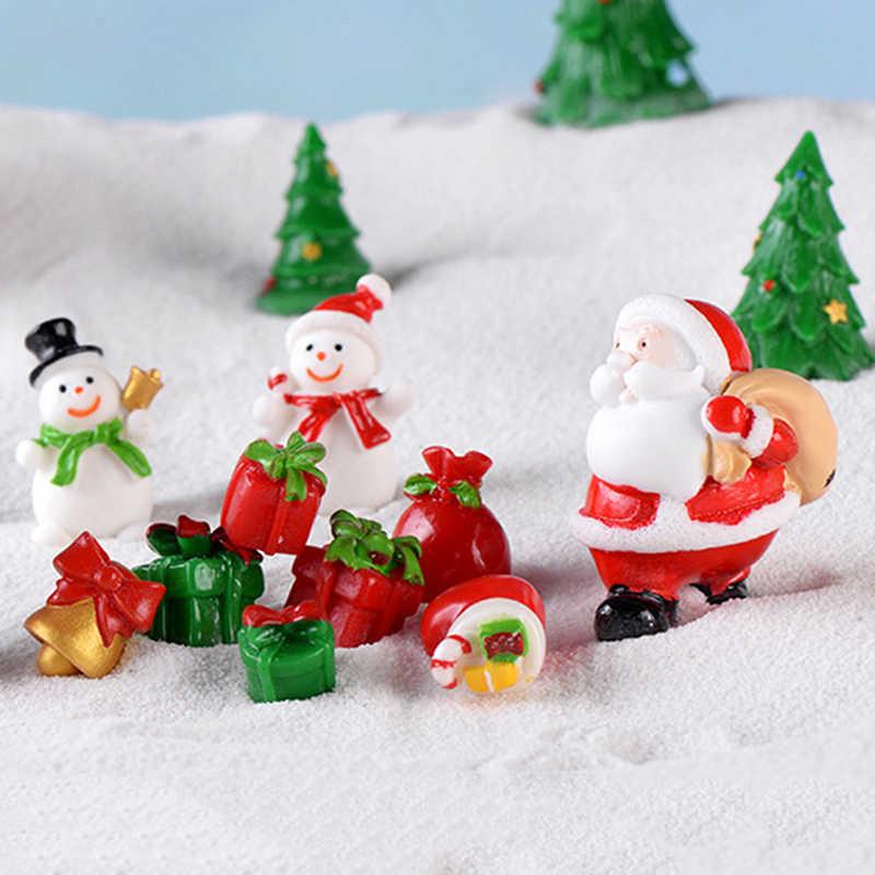 1 adet noel minyatür noel baba kızak ren geyiği hediye peri bahçe dekor kar manzara Model tren teraryum figürler