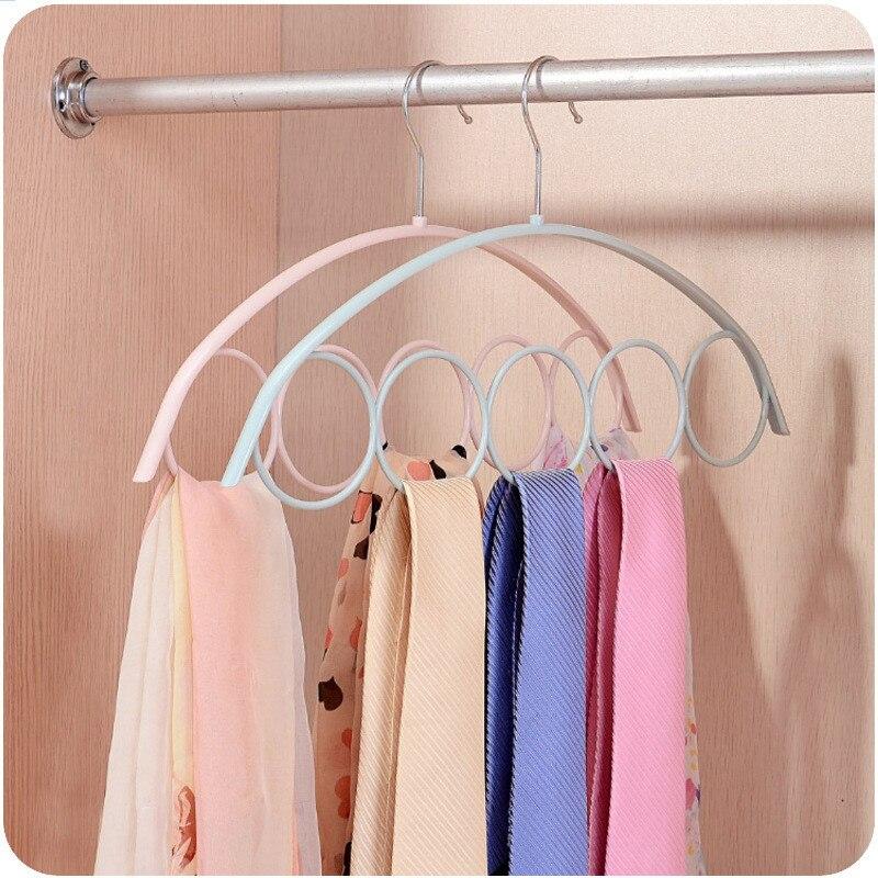 Simple Nordic Style Non-slip Plastic Hangers 5 Ring Multi-port Silk    Scarf Tie Multifunction Space Saving Clothes Storage Rack