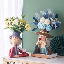Creative Girl Sculpture Flower Pot Resin Figure Model Nordic Home Decor Bedroom Decor Accessories One Piece Resin Statue Gifts