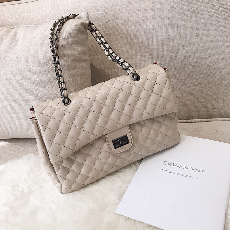 Big bag female 2019 new Korean fashion rhombic embroidery line shoulder bag wild large capacity Messenger bag chain bag C222