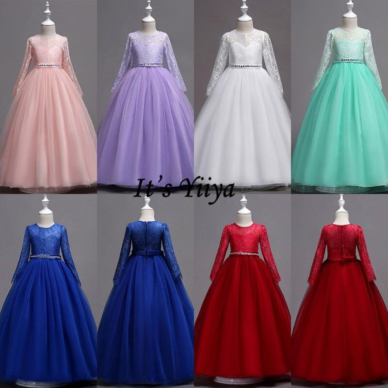 It's YiiYa   Flower     Girl     Dress   Elegrant O-neck Lace Long Sleeve   Girls   Pageant   Dresses   Zipper Vestidos De Noches Para Ninas 1023