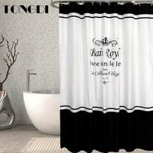 TONGDI Shower Curtain Thick Waterproof Eco-friend Modern Elegant Stripe Pattern Quick-drying Printing For Bathroom Washroom Home