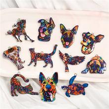 Julie wang 5 pçs colorido encantos animais liga graffiti cão gato pássaro cavalo elefante pingente pulseira jóias fazendo acessório