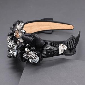 Image 4 - Travel and leisure personality headband  New fashion temperament exaggerated rhinestone bow headband 677