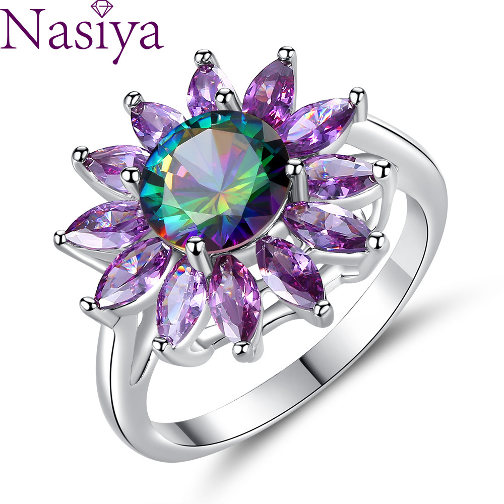 925 Silver Ring Sunflower Zircon Ring Purple Color Couple Gemstone Ring For Women Wedding Party Gift