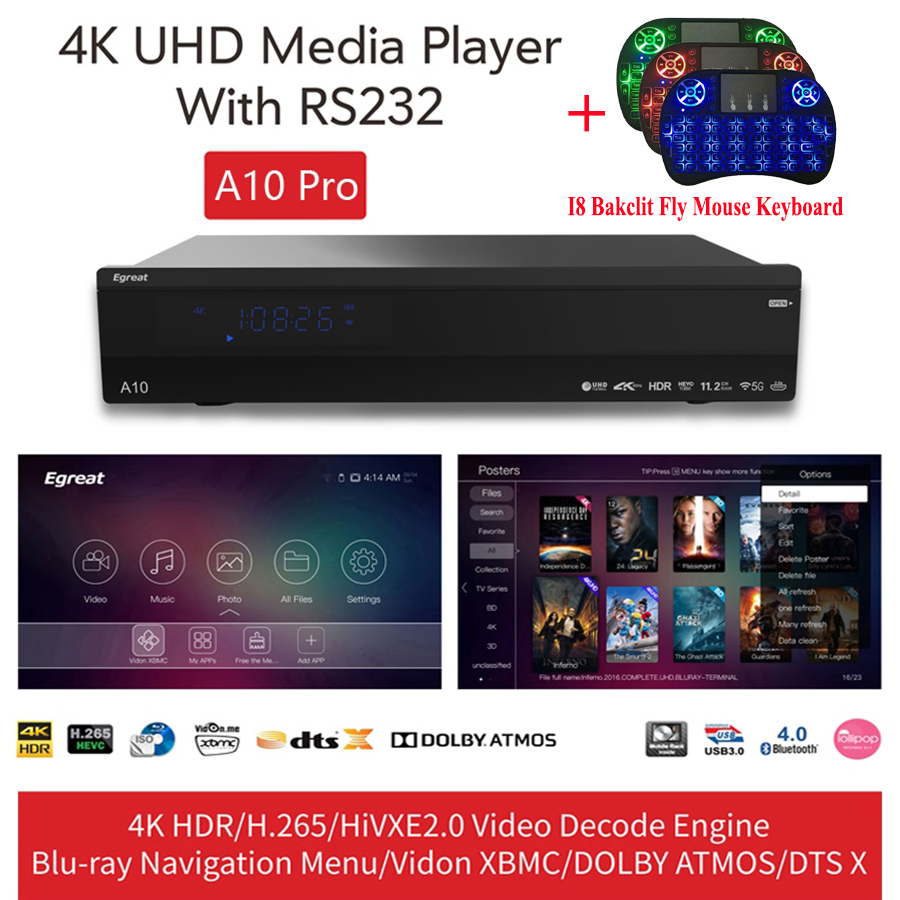 Egreat A10 Pro TV BOX Ultra-HD 4K HDR H.265 UHD DOLBY ATMOS DTS X RS232 Blu-ray Android Media Player Backlit Air Mouse Keyboard