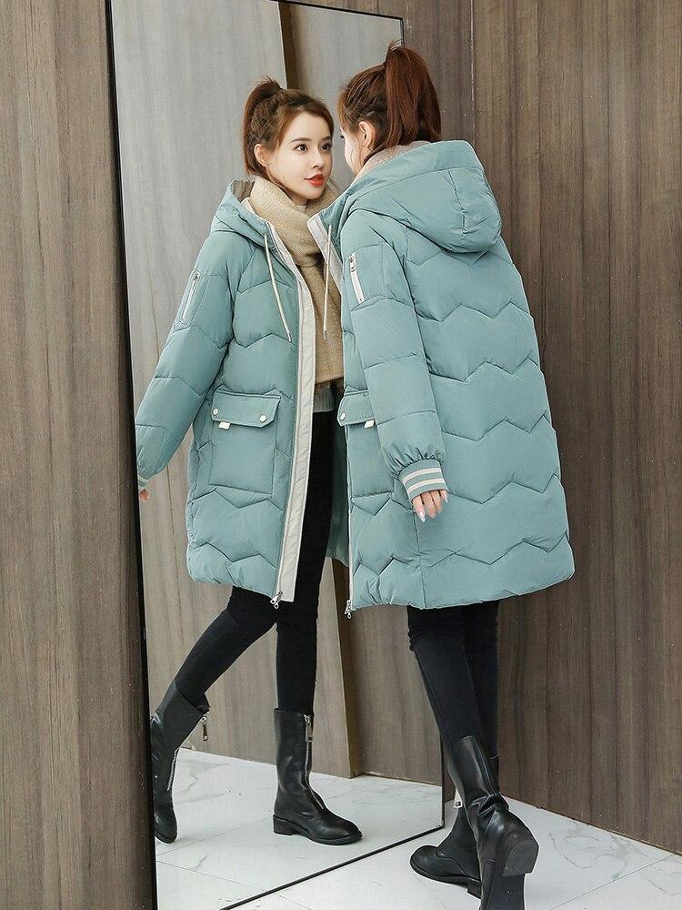 feminino para baixo algodão com capuz casaco