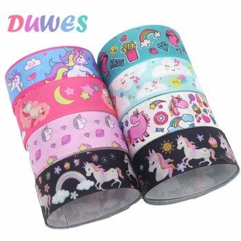 DUWES 50yards horse cloud kiss Printed Grosgrain Ribbon Accessory Hairbow Headwear Decoration DIY Wholesale OEM D1294