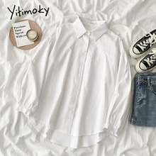 Yitimoky White Shirts for Women Korean Fashion Clothing Office Lady Turn-down Collar