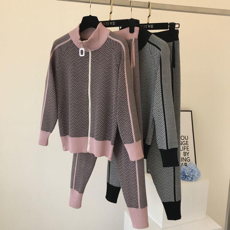 Winter Knitted Tracksuit Women Turtlneck Zip Jacket Sweater Coat+Pencil Pant Set Female Clothing Pink 2 Piece Set Knit Pant Suit
