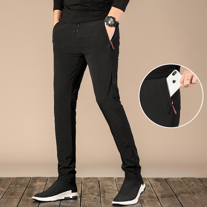 Black Sports Pants Men 2021 Summer New Breathable Quick Dry Casual Zipper Pocket Sweatpants Men Brand Fashion Loose Men's Pants 5