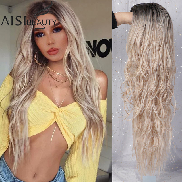 AISIBEAUTY Long Wavy Wigs for Women Synthetic Wigs Omber Blonde/Red Wigs Middle Part  Heat Resistant Fiber 13colors Avaliable