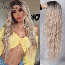 AISIBEAUTYยาวWavy Wigsสำหรับสุภาพสตรีสังเคราะห์Wigs Omberสีบลอนด์/สีแดงWigsกลางทนความร้อนได้13สีที่มีจำหน่าย
