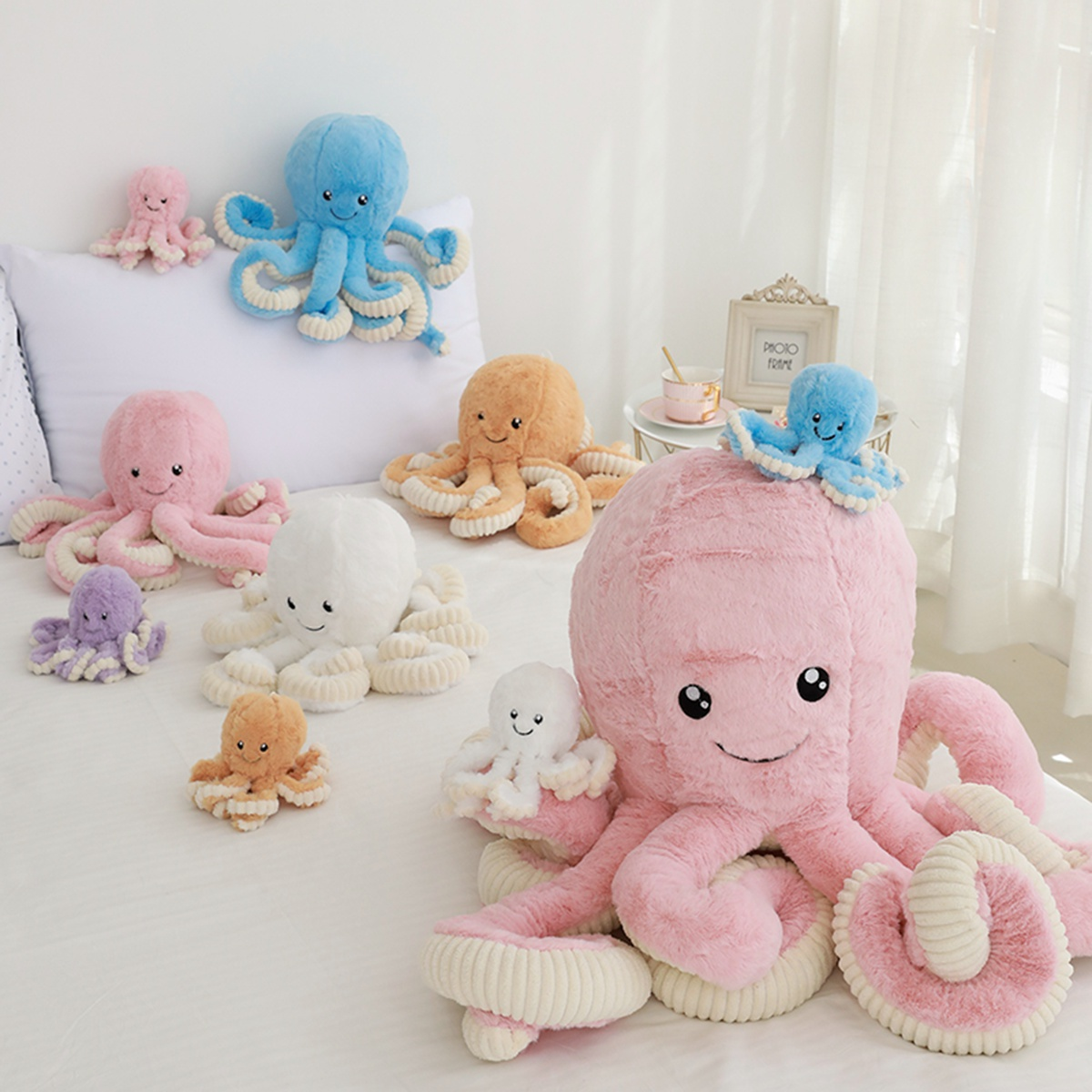 40cm-<font><b>80cm</b></font> Lovely Simulation octopus Pendant Plush Stuffed Toy Soft Animal Home Accessories Cute Animal <font><b>Doll</b></font> Children Gifts image