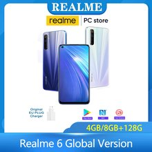 Realme 6 versão global 4/8 128gb telefone móvel 90hz display helio g90t smartphone 30w flash carga 4300mah 64mp câmera celular