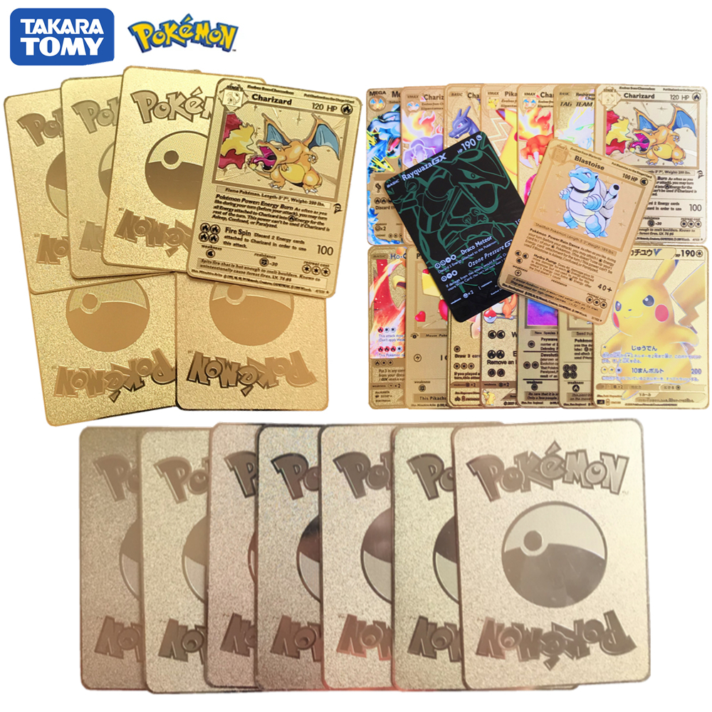 TOMY Cards POKEMON Limited Golden Cards Metal Rare English Collect Game Transaction Collectible Board Battle Carte Shining Gift