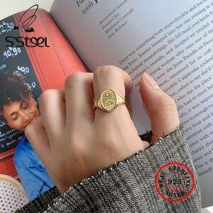 Женское золотое кольцо с подсолнухом из стали S'STEEL, 925 пробы, серебряные кольца для женщин, Anillos Plata Para Mujer, Винтажное кольцо, минималистичное ю...