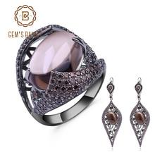 GEMS BALLET Conjuntos de joyería gótica Vintage de cuarzo ahumado Natural, conjunto de anillo y pendientes de plata de ley 100% para mujer, joyería fina