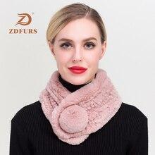 ZDFURS* 2018 New Winter girls fashion real rex rabbit Fur Scarves high quality Rabbit Mufflers  Ball fur scarf