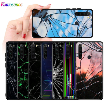 Bright Black Cover Craked screen For Xiaomi Redmi Note 9 9S Max 8T 8 7 6 5 Pro 5A 4X 4 Silicone Soft Phone Case image