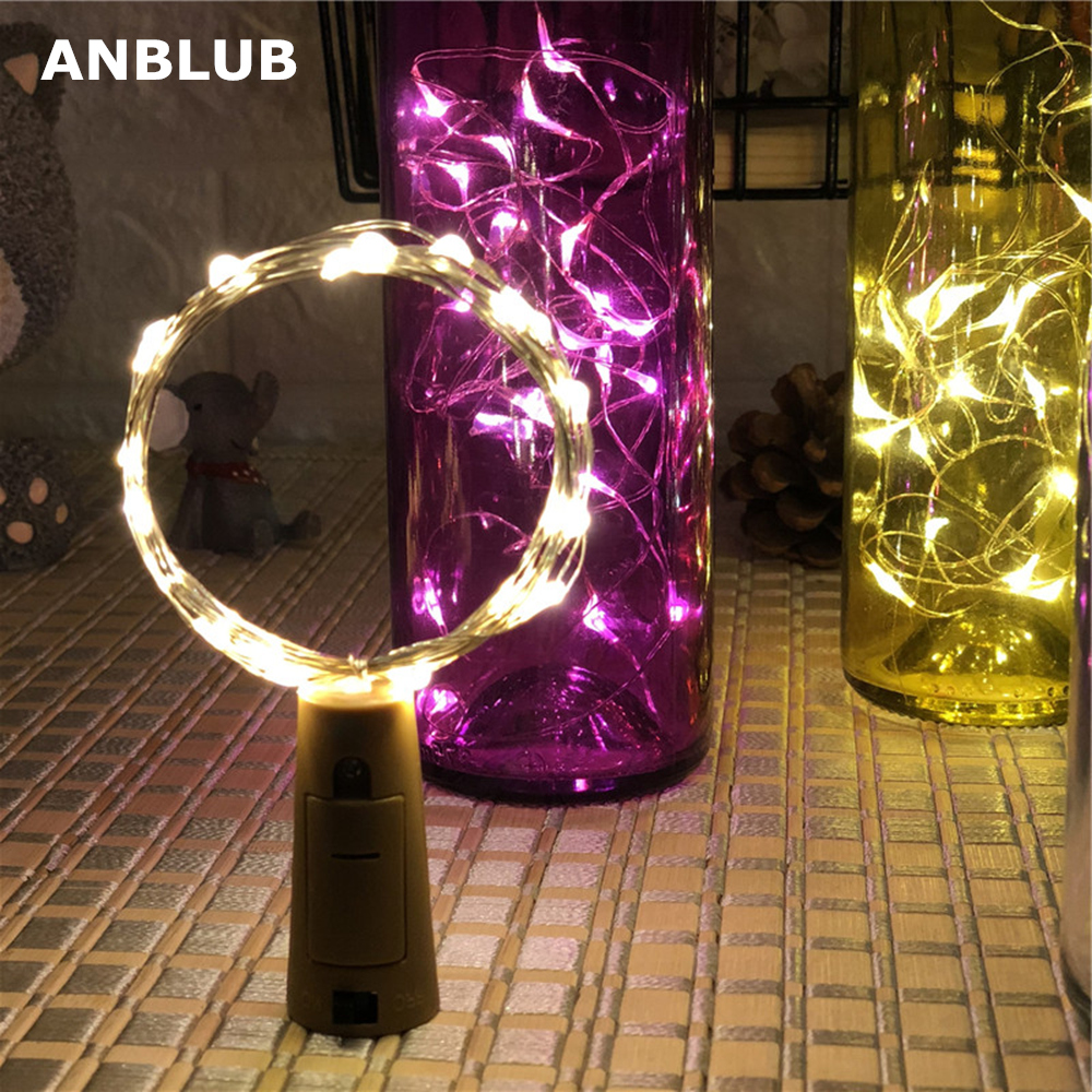 ANBLUB 1M 2M Silver Wire LED String Lights Fairy Garland Bottle Stopper For Glass Craft New Year Wedding Christmas Decoration