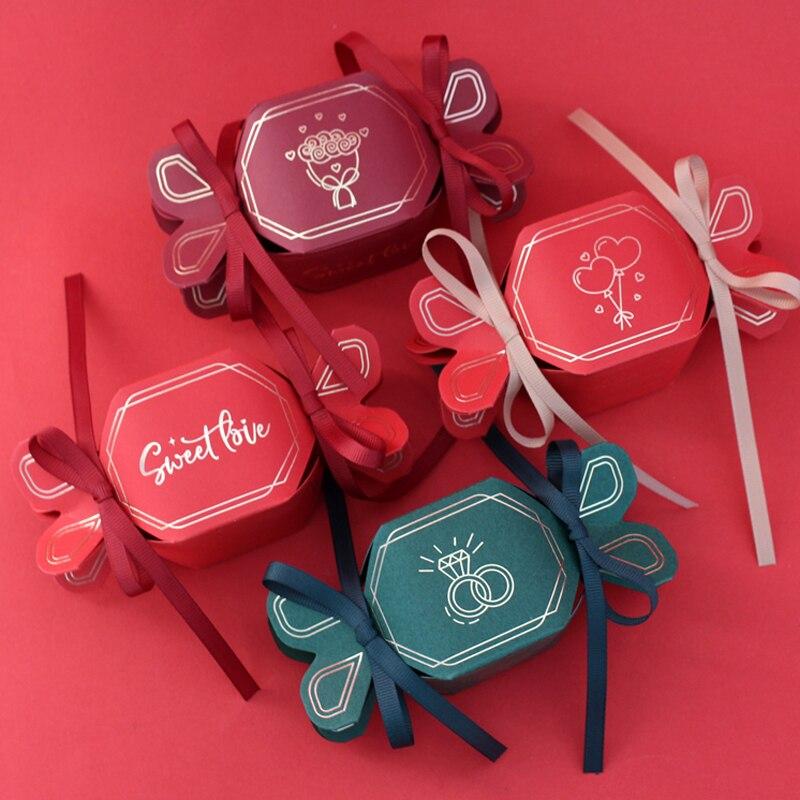 50 pièces/lot en forme de queue de poisson boîte à bonbons boîte de cadeau de mariage boîte de papier boîtes de chocolat ruban sac de bonbons fournitures de fête d'anniversaire