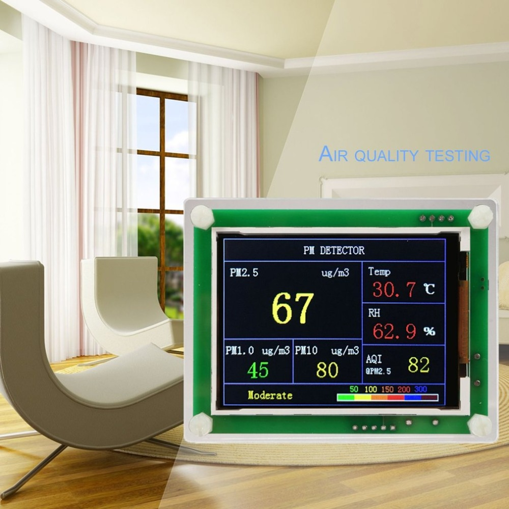 PM2.5 Air Quality Detector 2.8 Inch Car Home AQI Gas Monitor G5 Sensor TFT Screen Digital Air Particulates Measure Meter Tester