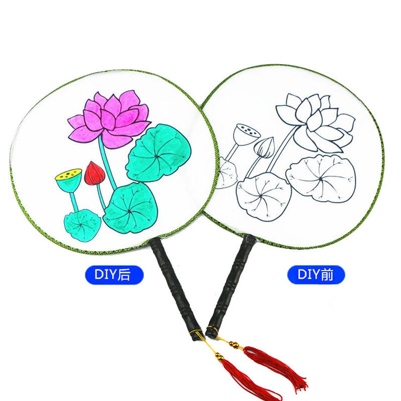 6 Pattern Diy Drawing Round Fan Crafts Toys For Children Kids Kindergarten Handicraft Material Baby Girl Gift New Dropshipping