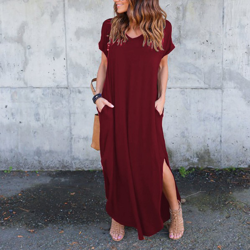 Sexy Women Dress Plus Size 3XL Summer 2020 Ssuolid Caal Short Sleeve Maxi Dress For Women Long Dress 21 color Lady Dresses image