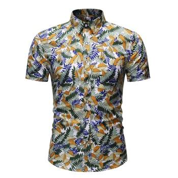 2020 Summer Short Sleeve Hawaiian Shirt Men Floral Shirts Pattern Regular Fit Print Streetwear Casual