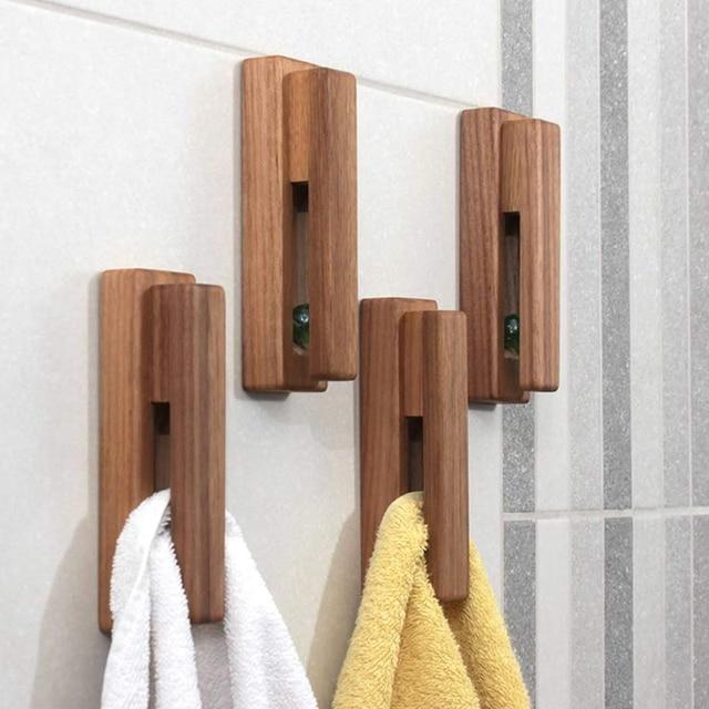 2 Pieces Modern Wooden Towel Rack Self Adhesive Towel Hook Wooden Wall Mounted Towel Rack Bathroom And Kitchen Towel Rack Home D Robe Hooks Aliexpress